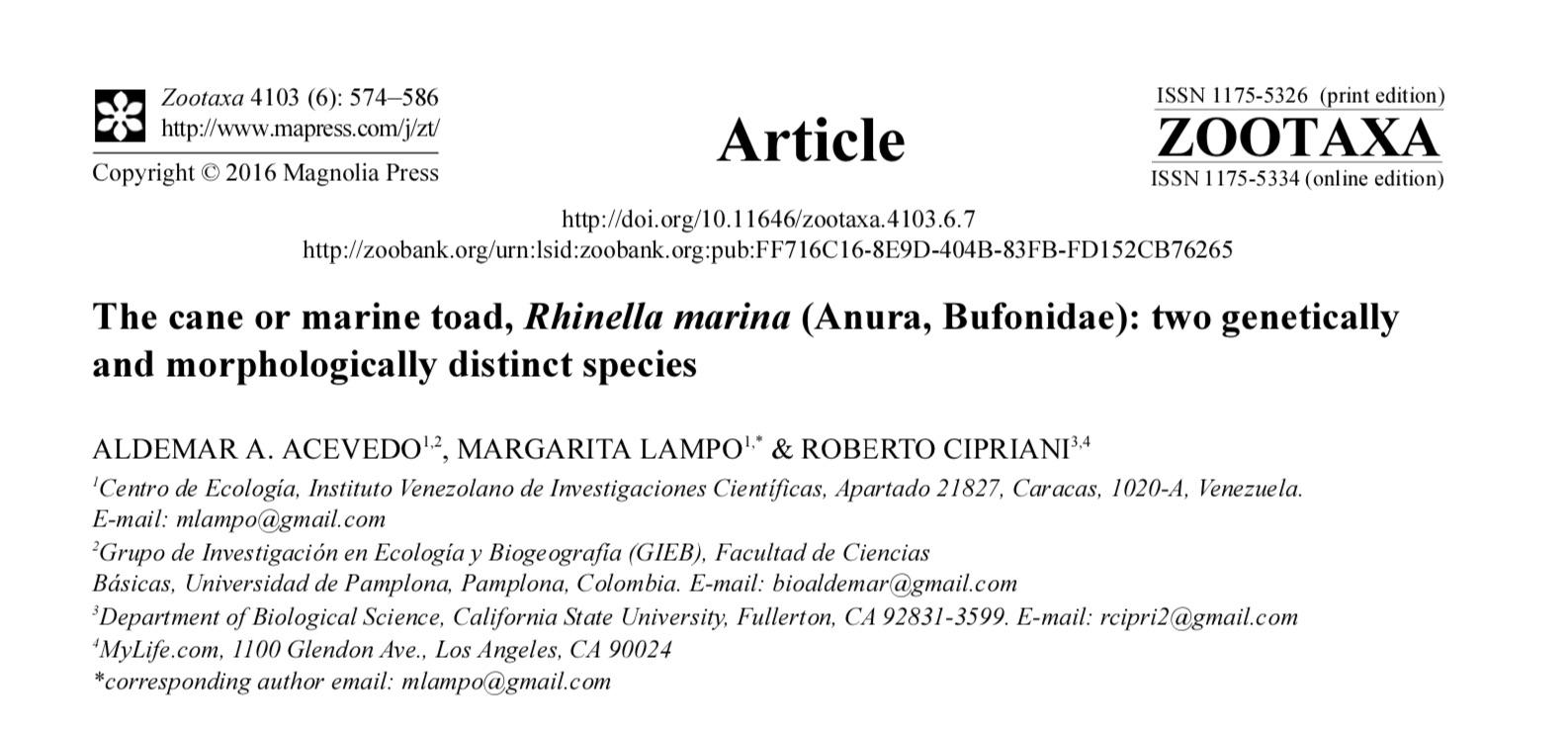Original distribution of Cane Toads