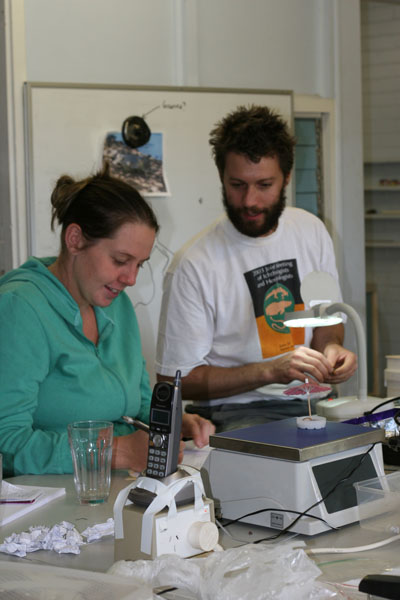 Ben Phillips and Michelle Franklin in the laboratory.